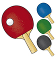 table tennis rackets and ball vector image