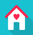 Flat Design House Icon with Red Heart vector image