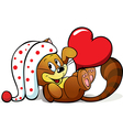 cute cat playing with heart vector image