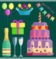 party icons celebration happy birthday surprise vector image