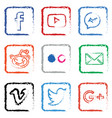 stylised social media icon set vector image