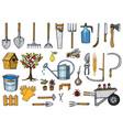 set of gardening tools or items hose reel fork vector image