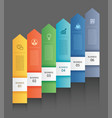 6 data infographics tab paper arrow template vector image vector image