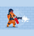 african american fireman hold extinguisher wearing vector image vector image