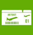 airline boarding pass icon green vector image vector image