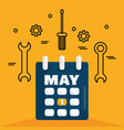 calendar reminder with wrench keys vector image vector image