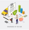 car insurance concept flat isometric vector image vector image