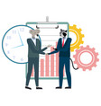 cartoon animals businessman handshake image vector image vector image
