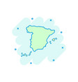 cartoon spain map icon in comic style spain sign vector image vector image