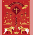 chinese new year 2021 year ox happy new vector image vector image
