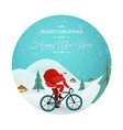 christmas new year santa claus bicycle delivery vector image vector image