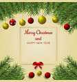 christmas tree and ball background for christmas vector image