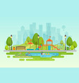 city park urban outdoor decor elements parks and vector image vector image