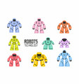 colorful different robots set vector image vector image