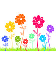 colour flowers on green grass isolated vector image