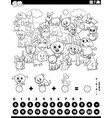 counting and adding task with animals coloring vector image vector image