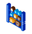 cupboard with clay products isometric icon vector image vector image
