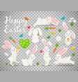 easter bunny set on transparent background vector image
