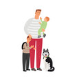 father with sons and dog vector image vector image