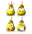 Fresh pear with facial expressions vector image