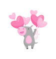 funny little hippo with bunch of pink heart-shaped vector image vector image