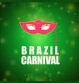 happy brazilian carnival day pink carnival mask vector image vector image