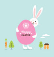happy easter card easter bunny with big egg vector image vector image