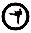 karate man icon black color in circle vector image vector image