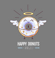 kawaii funny donut angel sweet fast food vector image