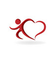 love heart man icon vector image