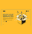 moving service startup isometric web page vector image