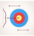 One arrow hits the center of a target vector image vector image