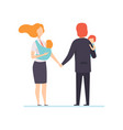 parents in business clothes standing and holding vector image vector image