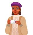 portrait young black woman wearing lilac beret vector image