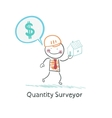 Quantity Surveyor holds a house and thinking about vector image vector image