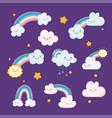 rainbows clouds sun stars sky dream cartoon vector image vector image
