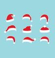 santa claus hat flat set realistic santa claus vector image