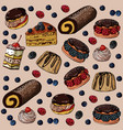 seamless pattern with sweet cakes and berries on a vector image