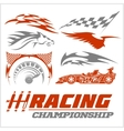 Set of racing stickers Monochrome vector image vector image