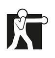 square block boxing punch sport figure symbol vector image