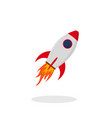 startup red rocket in flat style launch rocket vector image vector image