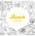 summer background with beach elements vector image vector image