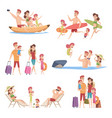 summer travellers happy love couple with vector image vector image