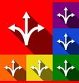 three-way direction arrow sign set of vector image vector image