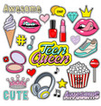trendy sticker pack heart crown lips diamond vector image vector image
