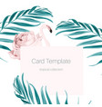 tropical card pink flamingo rose hip palm leaves vector image vector image