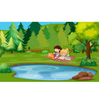 Two girls reading book by the pond vector image vector image