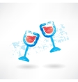 wineglasses grunge icon vector image vector image