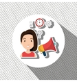 woman with speaker isolated icon design vector image vector image