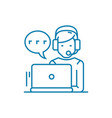 working in the call center linear icon concept vector image vector image
